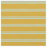 [ Thumbnail: Powder Blue and Goldenrod Lined/Striped Pattern Fabric ]