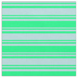 [ Thumbnail: Powder Blue and Green Colored Striped Pattern Fabric ]