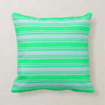 [ Thumbnail: Powder Blue and Green Colored Striped Pattern Throw Pillow ]