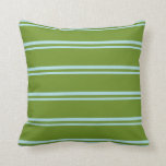 [ Thumbnail: Powder Blue and Green Colored Stripes Throw Pillow ]