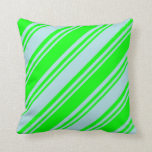[ Thumbnail: Powder Blue and Lime Colored Lined Pattern Pillow ]