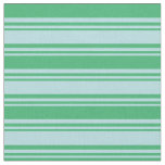 [ Thumbnail: Powder Blue and Sea Green Colored Stripes Fabric ]
