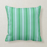 [ Thumbnail: Powder Blue and Sea Green Colored Stripes Pillow ]