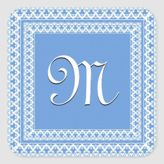Powder Blue and White Ornate Monogram Stickers