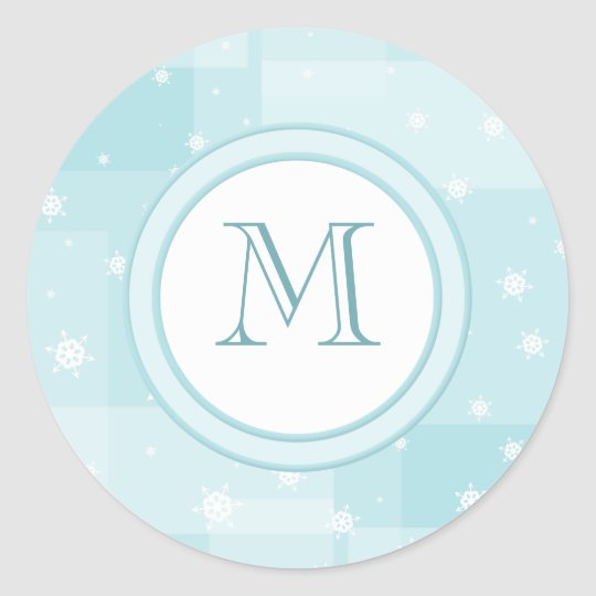 Powder Blue and White Winter Snowflakes Pattern Classic Round Sticker