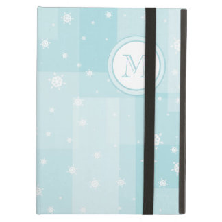 Powder Blue and White Winter Snowflakes Pattern Cover For iPad Air