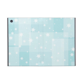 Powder Blue and White Winter Snowflakes Pattern Cover For iPad Mini