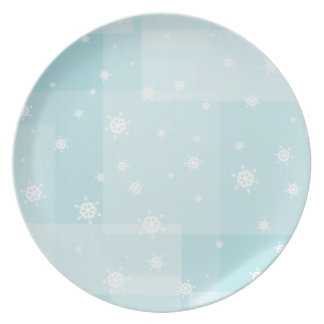 Powder Blue and White Winter Snowflakes Pattern Dinner Plate
