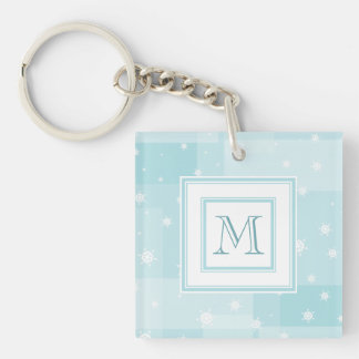 Powder Blue and White Winter Snowflakes Pattern Keychain