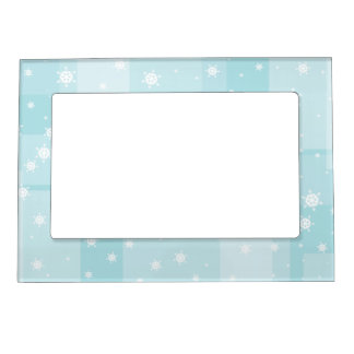 Powder Blue and White Winter Snowflakes Pattern Magnetic Frame