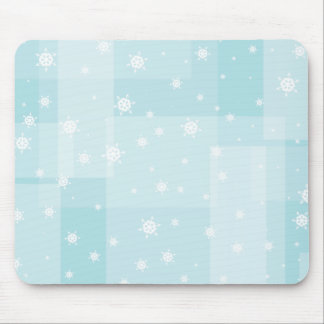Powder Blue and White Winter Snowflakes Pattern Mouse Pad