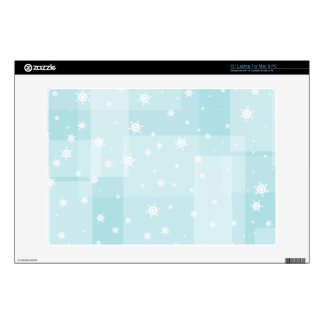 """Powder Blue and White Winter Snowflakes Pattern Skin For 13"""" Laptop"""