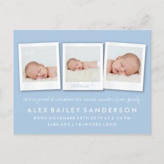 Powder Blue Birth Announcement Triple Photo