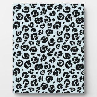 Powder Blue Black Leopard Print Plaque
