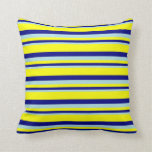 [ Thumbnail: Powder Blue, Blue, and Yellow Lined Pattern Pillow ]