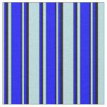 [ Thumbnail: Powder Blue, Blue & Black Colored Stripes Pattern Fabric ]