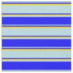 [ Thumbnail: Powder Blue, Blue & Yellow Stripes/Lines Pattern Fabric ]
