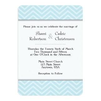 Powder Blue Chevron Wedding Invitations
