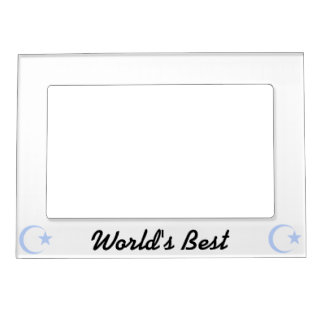 Powder Blue Crescent & Star.png Magnetic Picture Frame