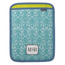 Powder blue damask pattern 3 letter monogram sleeve for iPads