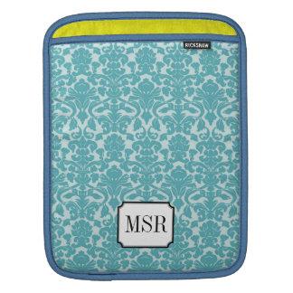 Powder blue damask pattern 3 letter monogram sleeves for iPads
