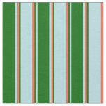 [ Thumbnail: Powder Blue, Dark Green, and Red Stripes Fabric ]