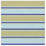 [ Thumbnail: Powder Blue, Dark Khaki & Dark Blue Colored Lines Fabric ]