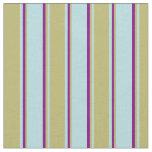 [ Thumbnail: Powder Blue, Dark Khaki & Purple Colored Lines Fabric ]