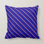 [ Thumbnail: Powder Blue, Deep Pink, Black, Blue, and Dark Blue Throw Pillow ]