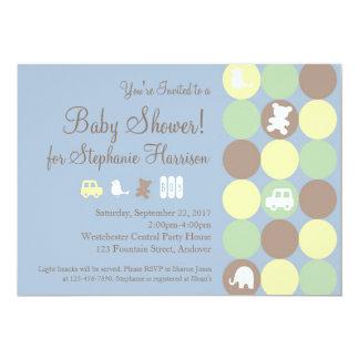 Powder Blue Dots Boy Baby Shower Invitation