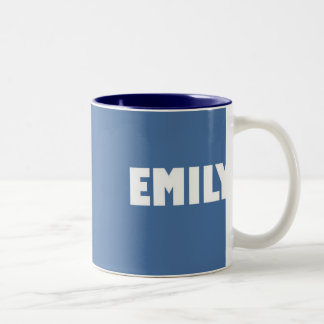 Powder blue Emily name Two-Tone Coffee Mug