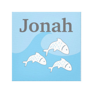Powder Blue Fish with Custom Name Canvas Print
