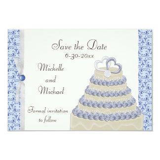 Powder Blue Florentine Save the Date 3.5x5 Paper Invitation Card
