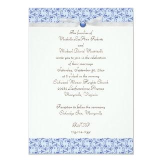 "Powder Blue Florentine Wedding Invitation 5"" X 7"" Invitation Card"