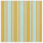 [ Thumbnail: Powder Blue & Goldenrod Lines/Stripes Pattern Fabric ]
