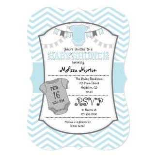 Powder Blue Gray Chevron Baby Shower Invitation