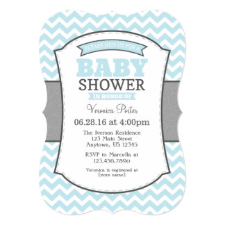 Powder Blue Gray Chevron Baby Shower Invitation