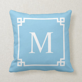 Powder Blue Greek Key Corners | Throw Pillow