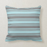 [ Thumbnail: Powder Blue & Grey Colored Lined Pattern Pillow ]
