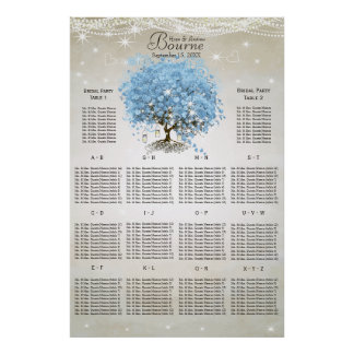Powder Blue Heart Leaf Tree Seating Chart Poster