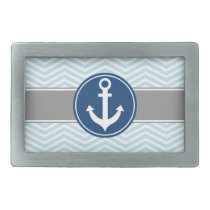 Powder Blue Nautical Anchor Chevron Rectangular Belt Buckle