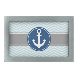 Powder Blue Nautical Anchor Chevron Rectangular Belt Buckle