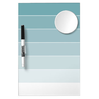 Powder Blue Ombré Stripes Dry Erase Board With Mirror