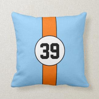 Powder Blue & Orange Custom Racing Number Pillow