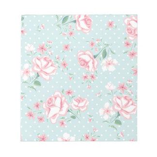 powder blue,pink,polka dot,floral,vintage,shabby note pads