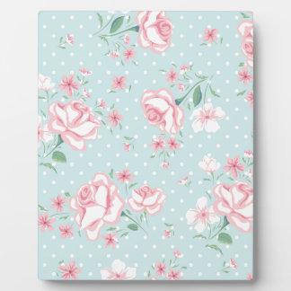 powder blue,pink,polka dot,floral,vintage,shabby plaque