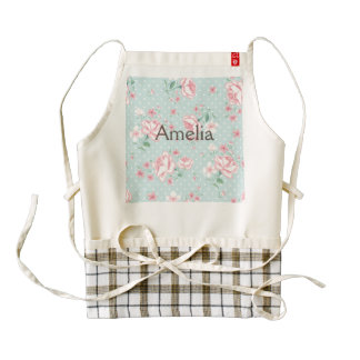 powder blue,pink,polka dot,floral,vintage,shabby zazzle HEART apron