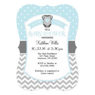 Powder Blue Polka Dot Chevron Baby Shower Invite