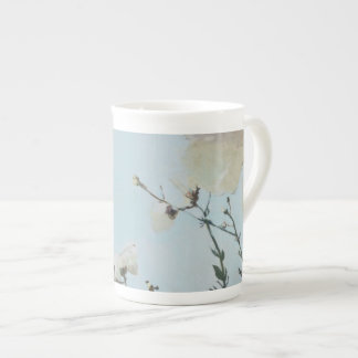 Powder Blue Poppy Bone China Cup with Black Orchid