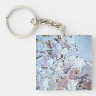 powder blue poppy roses charm keychain